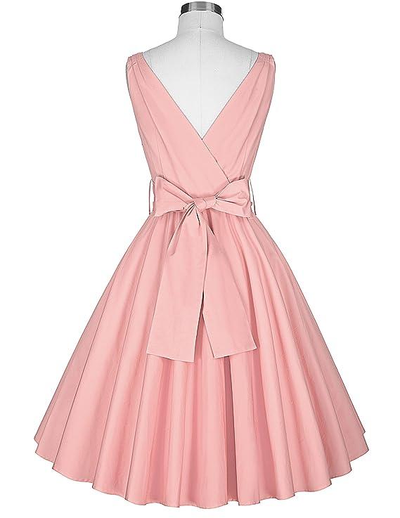 GRACE KARIN 50s vestido Rockabilly Vintage V escote Vestido de Cóctel Vestido de Cinturón: Amazon.es: Ropa y accesorios