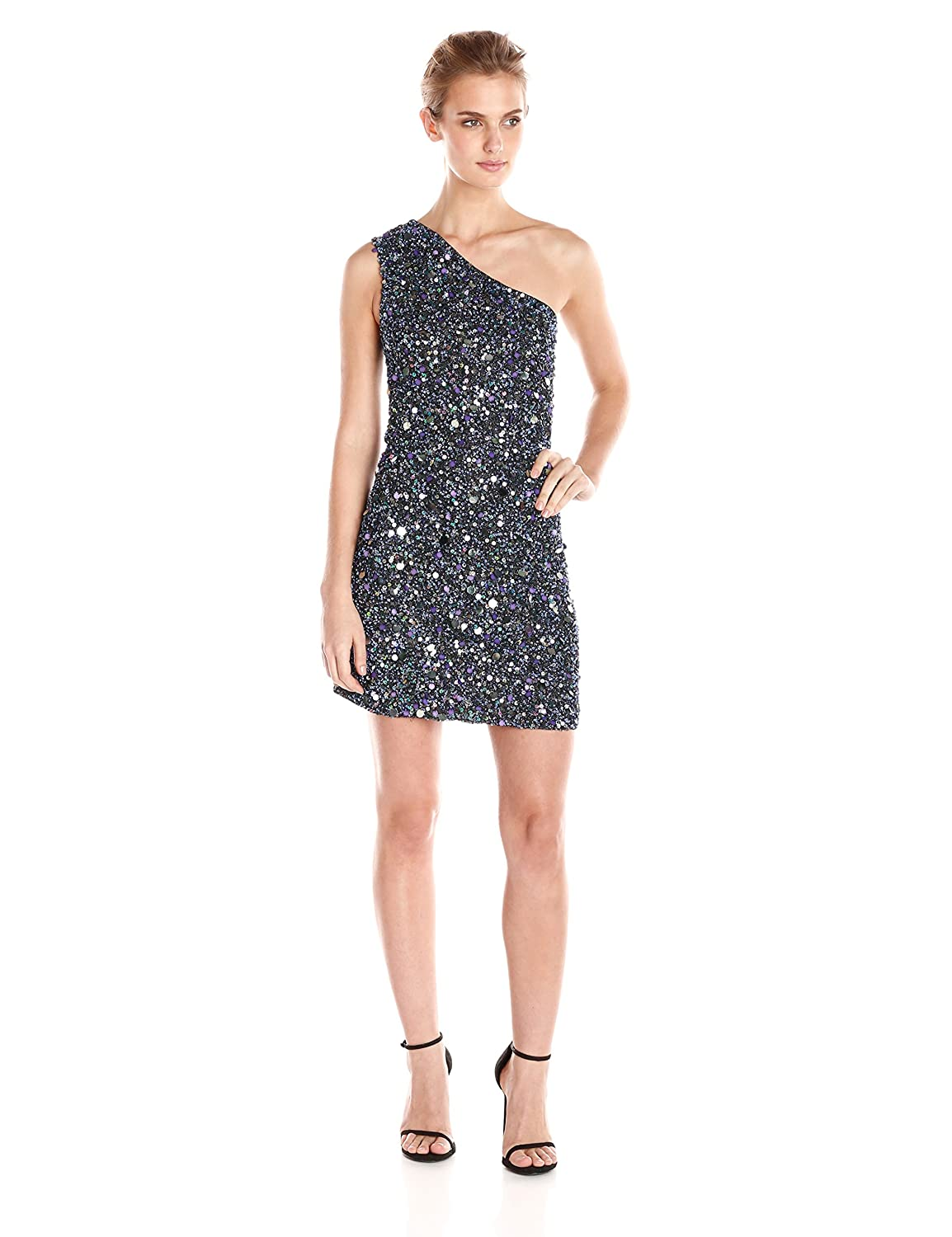 Cynthia Rowley Womens All Over Sequin One Shoulder Dress