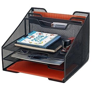 Bonsaii Metal de malla bandeja bandeja de escritorio carta y organizador de archivo con 2 y horizontal de 2 secciones, negro (w6488): Amazon.es: Oficina y ...