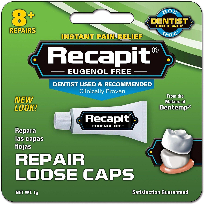Recapit Loose Cap Dental Repair, 8 Repairs Per Tube (4 Pack)