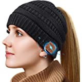 Bluetooth Beanie Gifts for Women, Ponytail Bluetooth Hat for Woman, Beanie with Headphones Upgrade Bluetooth 5.0…