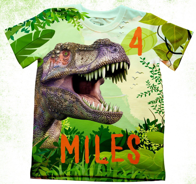 Amazon com: Personalized T-Rex Birthday T-Shirt, Dino