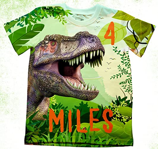 e95018dd Amazon.com: Personalized T-Rex Birthday T-Shirt, Dino Birthday Shirt, Birthday  Party Kids T-shirts, Dinosaur Theme Birthday Shirt, Boys birthday TShirts:  ...