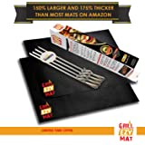 "Grill Ezy® Grill Mat - Set Of 2 Grill Mats 20""x16"" - 150% Thicker & 64 % Larger Than Most Others - 100% Non-Stick, Heavy Duty - Perfect for BBQ Meat, Vegetables & More"