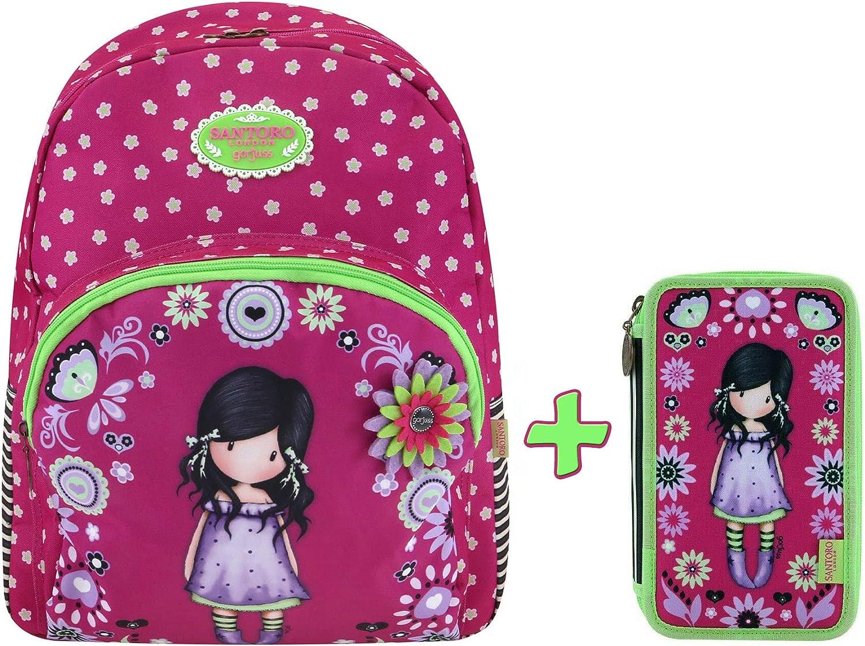 SANTORO GORJUSS SCHOOLPACK Estuche de 3 cremalleras con papelera + mochila extensible 2 cremalleras - Colección escolar 2019-20: Amazon.es: Oficina y papelería