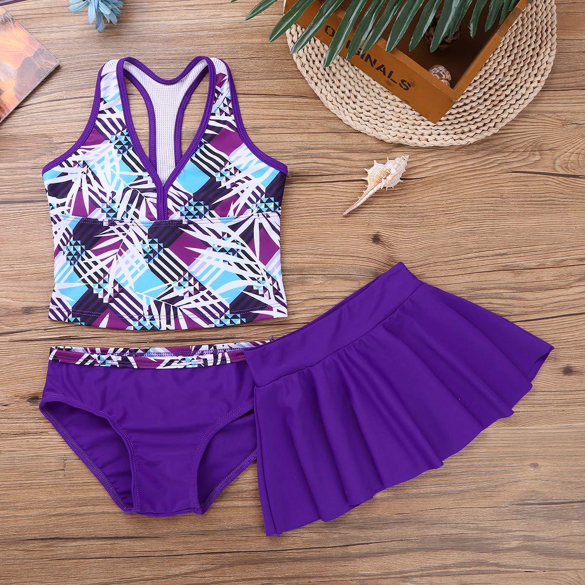 iEFiEL Big Girls Peace Signs Heart Print 2Pcs Tankini Swimwear Bathing Suit