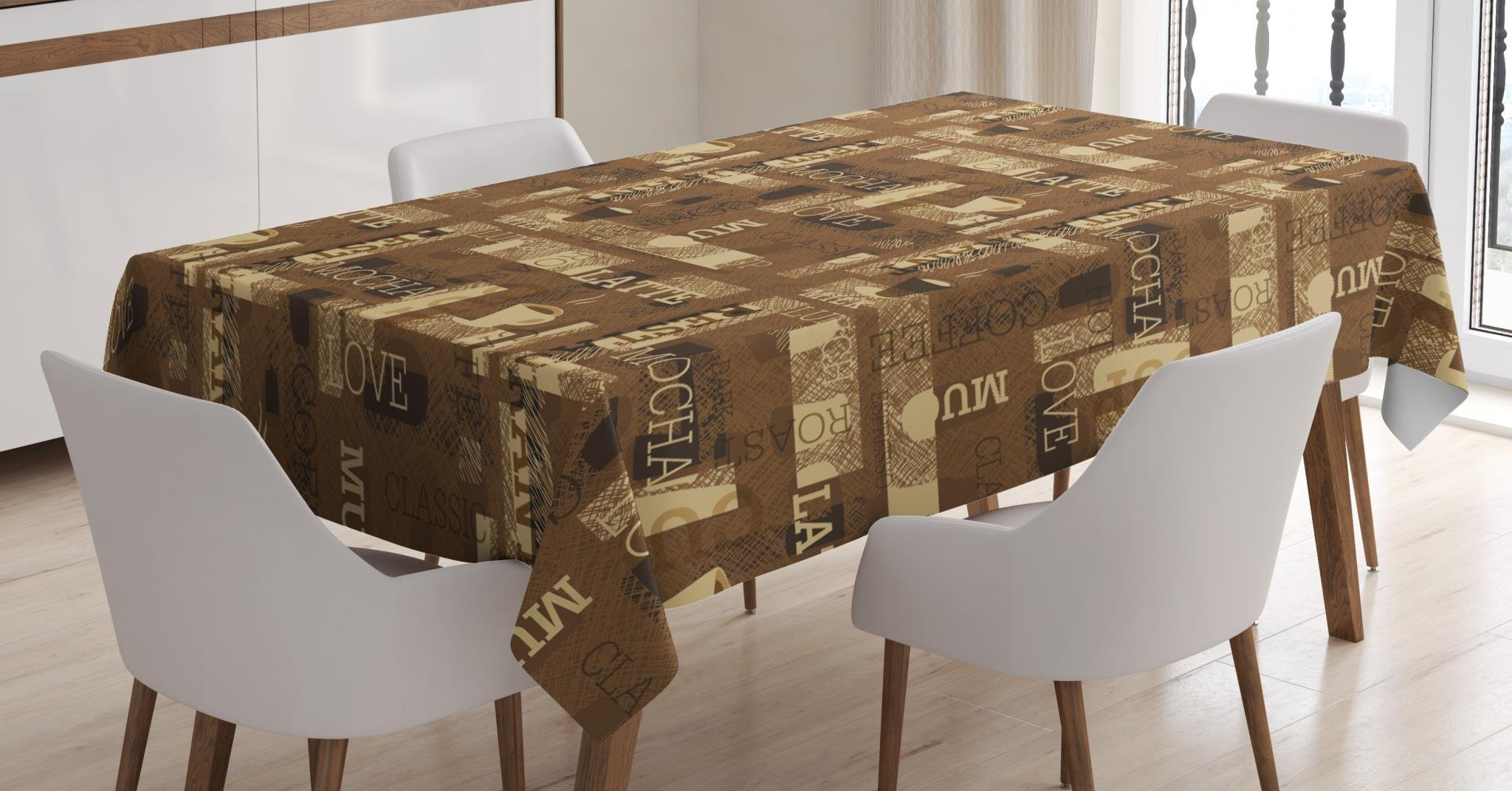 Ambesonne Coffee Tablecloth, Cafeteria Pattern with Hot Mocha Latte Milk Love Typography on Scribble Backdrop, Dining Room Kitchen Rectangular Table Cover, 52 W X 70 L inches, Brown Beige