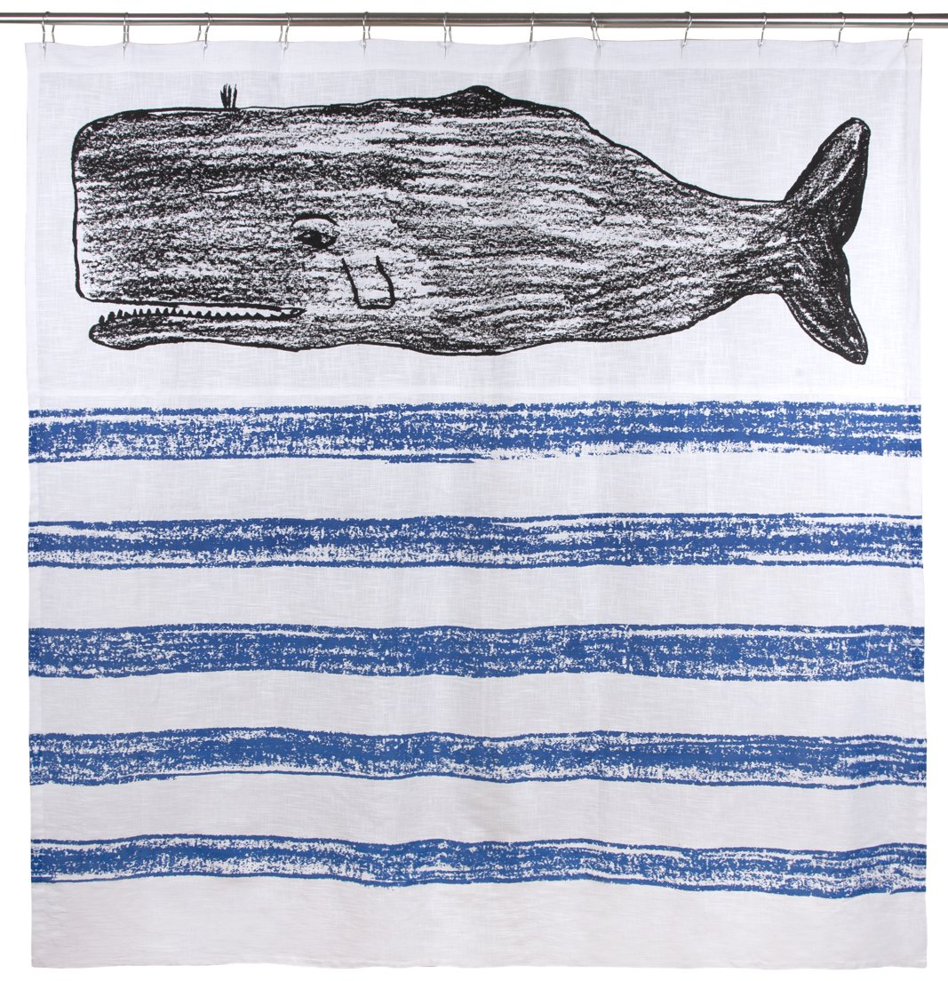 thomaspaul Whale Sketch Shower Curtain, 72 by 72''