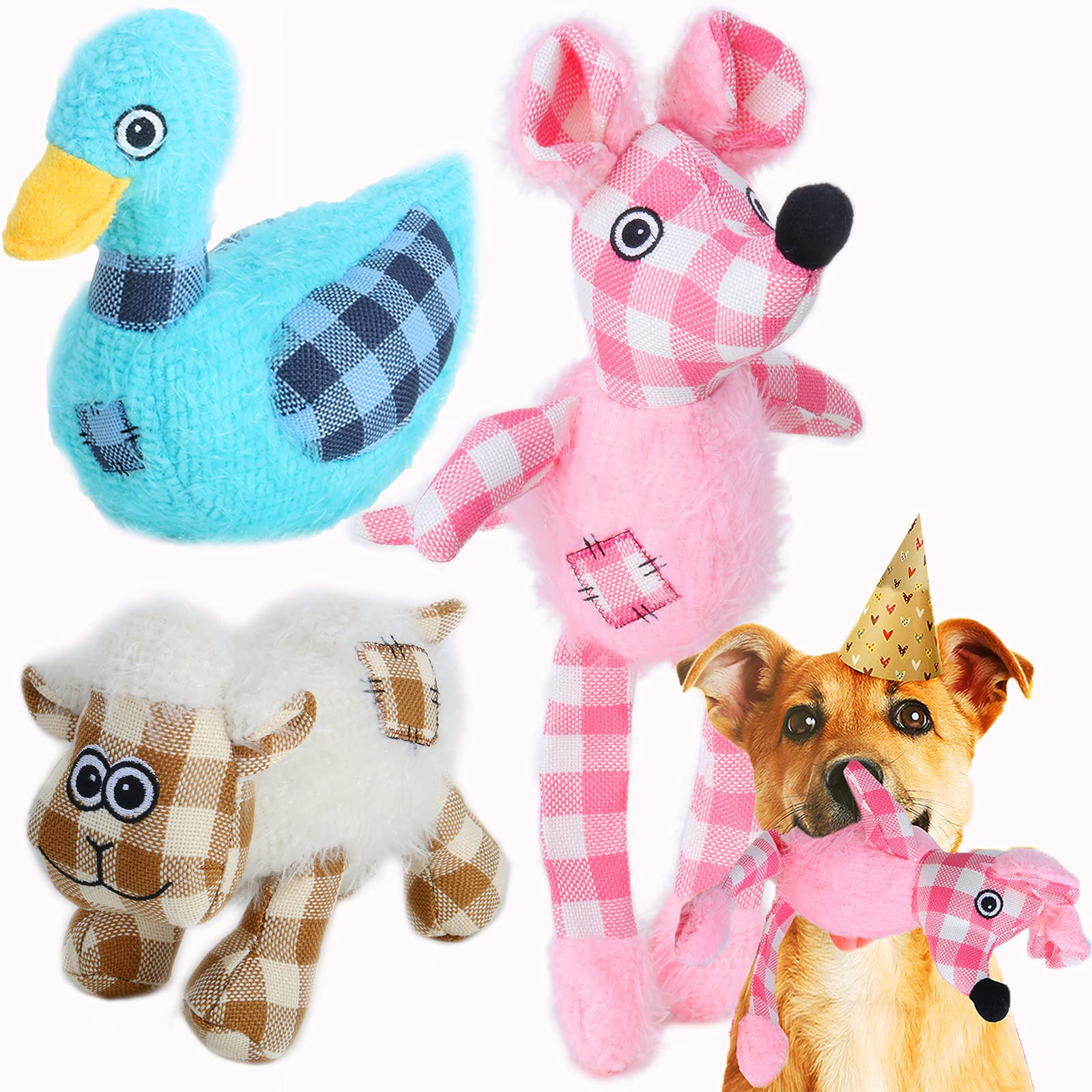 KINJUWEE 3Pcs Durable Squeaky Dog Toy for Puppies GiftsLovely Plush Fluffy Toy