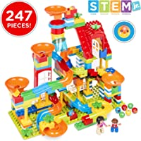 247-Piece Best Choice Products Building Block Marble Run STEM Toy Track Set with Ramps & Slides