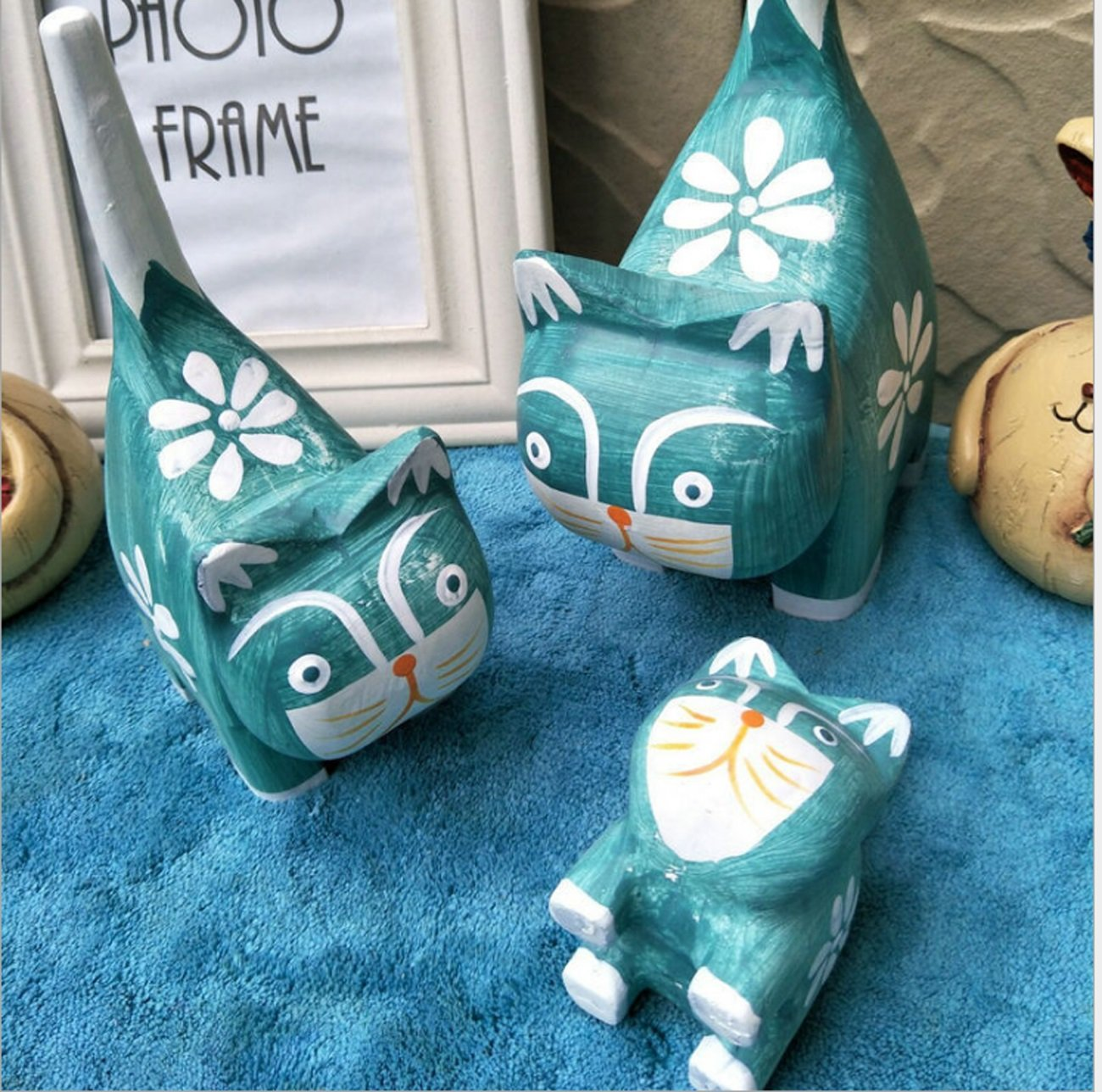 Handmade Wood Crafts Ornaments Kids Bedroom Lovely Ornaments Cats Creative Gifts
