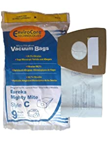 EnviroCare Replacement Micro Filtration Bags for Eureka Type C Mighty Mite Canisters 9 Pack