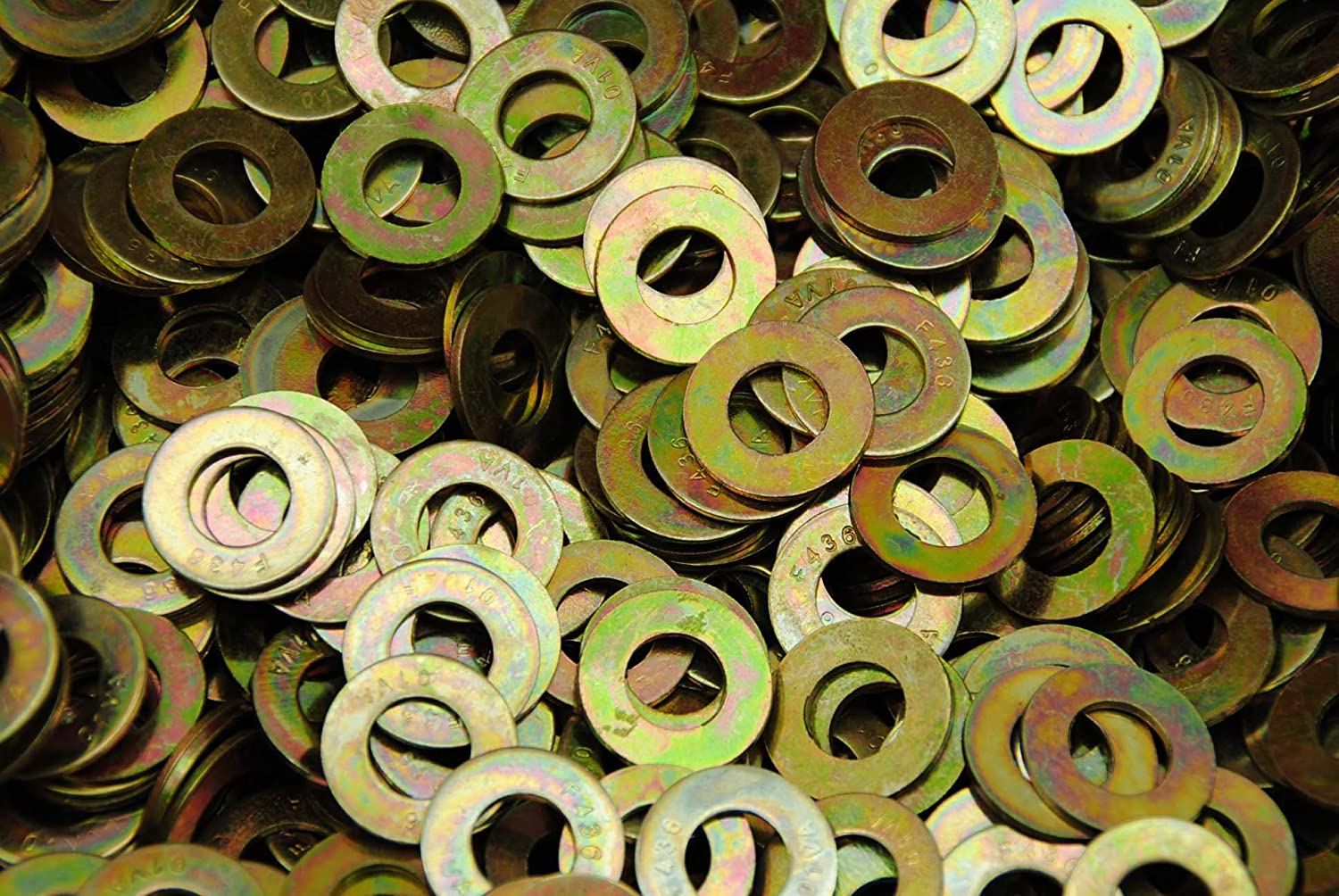 "5//8/"" Grade 8 Flat Washer SAE Pattern Yellow Zinc Plated"