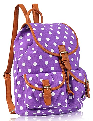 Kukubird POLKA DOT Backpack SPOTTY Rucksack School Bag (PURPLE)
