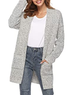 5e3455fe69 Women s Long Sleeve Open Front Chunky Warm Pointelle Knit Cardigans Sweater