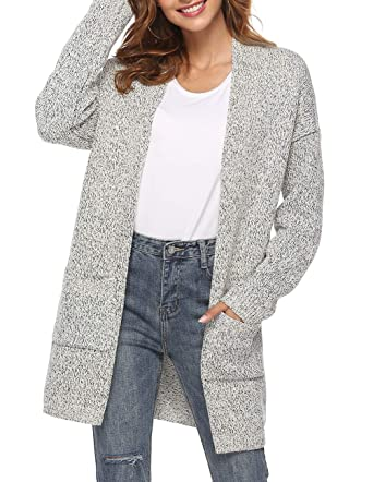 1b7c02df7b3 Ray JrMALL Women s Long Sleeve Open Front Cardigans Mid Length Loose Knit  Cardigan Sweater Grey