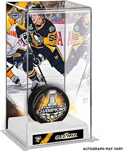 Jake Guentzel Pittsburgh Penguins 2017 Stanley Cup Champions Autographed  Champs Logo Puck with Deluxe Tall Hockey a1deb2e4f