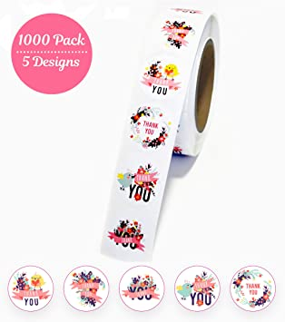 Paper Party Supplies Package Label Sealing Tag Thank You Floral Kraft Stickers