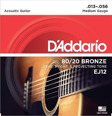 DAddario EJ12 - Juego de cuerdas para guitarra acústica de bronce, 013