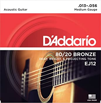 DAddario EJ12 Juego de cuerdas para guitarra acústica de bronce, 013 -