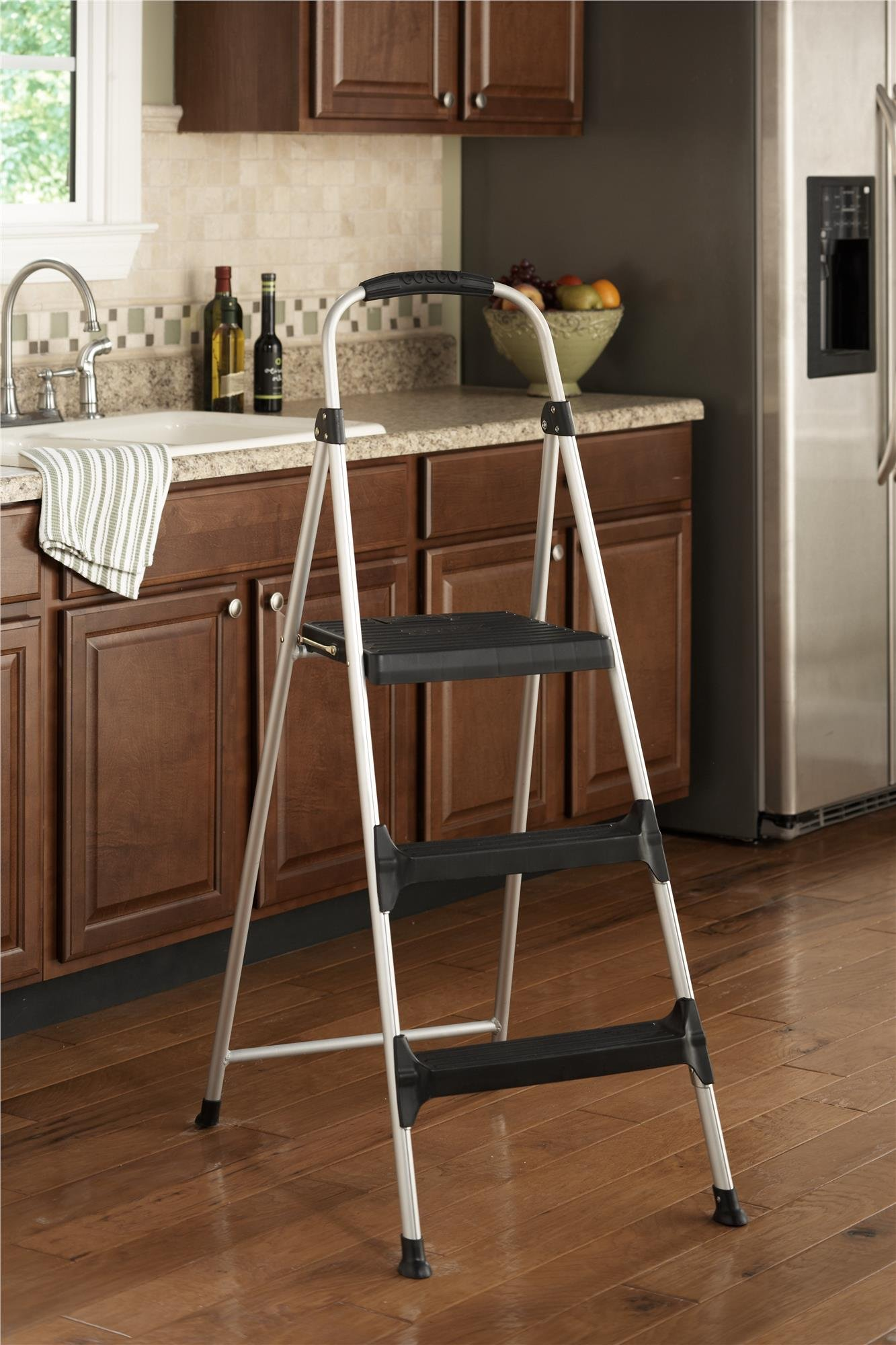 Cosco Signature Step Stool Three-Step Aluminum with Plastic Steps by Cosco (Image #2)