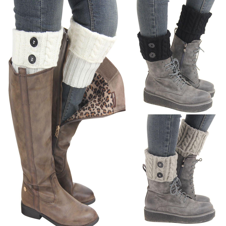 Kaariss Women Winter Warm Crochet Knitted Boot Cuff Sock Short Leg Warmers 3 Pairs