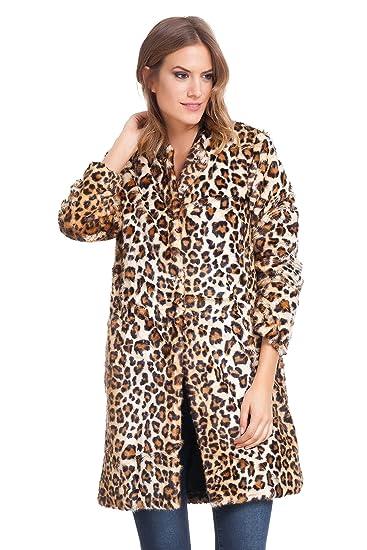 93749f84aa6d3 Laura Moretti - Fur Animal Print Coat  Amazon.co.uk  Clothing