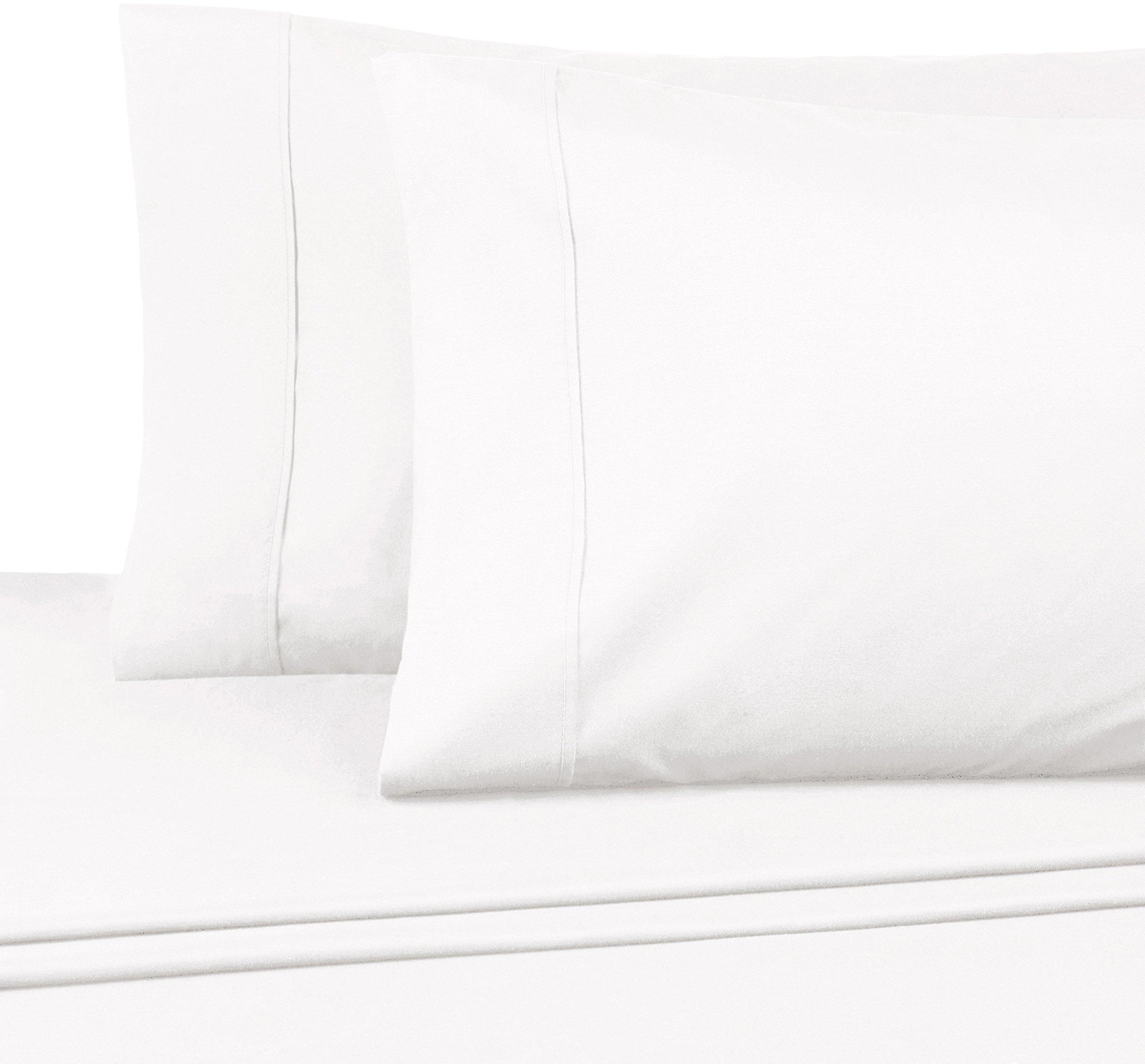 AmazonBasics Essential Cotton Blend Sheet Set -King, White by AmazonBasics (Image #3)