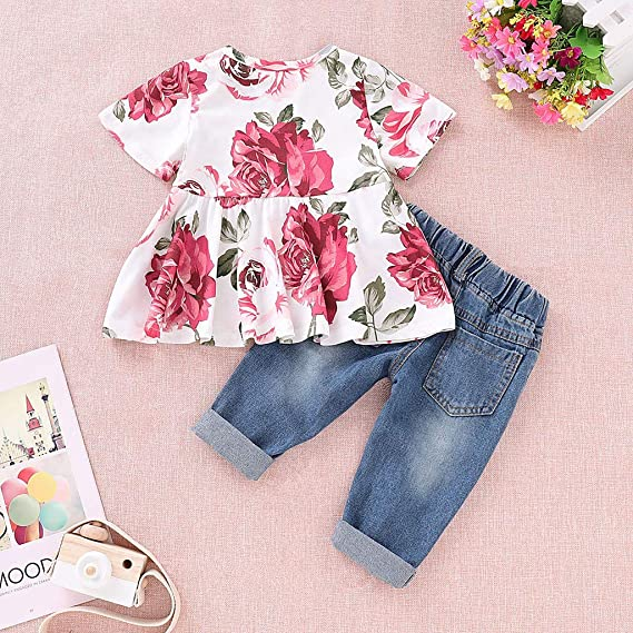 TLoowy-Clearance Summer Baby Girls Floral Cotton Tops+Hole Denim Jeans Pants Toddler Kids Soft Outfits Clothes Sets