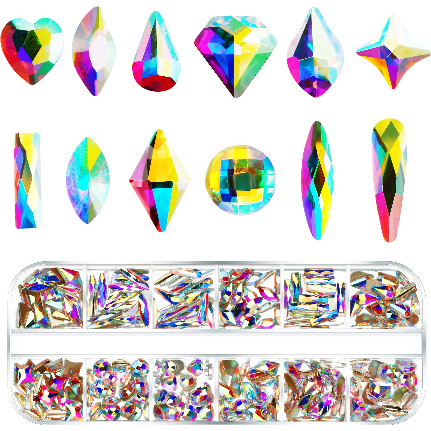 300 Pieces Nail Art Crystals Rhinestones AB Nail Gems Flat Back Crystals Gems for Nails, Mix Shape Glass Rhinestone Stones Beads for Clothes, Face, Jewelry by Tatuo