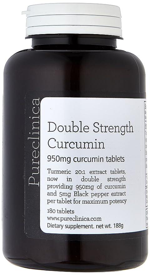 Pureclinica Cúrcuma 1000mg x 180 Comprimidos. 95% de Curcumina (950 mg) por