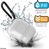 Waterproof Airpods Case Cover by Catalyst, Shockproof and Drop proof air pods Protective Cover Soft Skin, Anti-Lost Carabiner, Silicone Sealing - Apple Accessories, Translucent