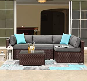 COSIEST 5-Piece Outdoor Patio Furniture Chocolate Brown Wicker Executive Sectional Sofa w Dark Grey Thick Cushions, Glass-Top Coffee Table, 2 Turquoise Pillows Incl. Waterproof Cover, Clips