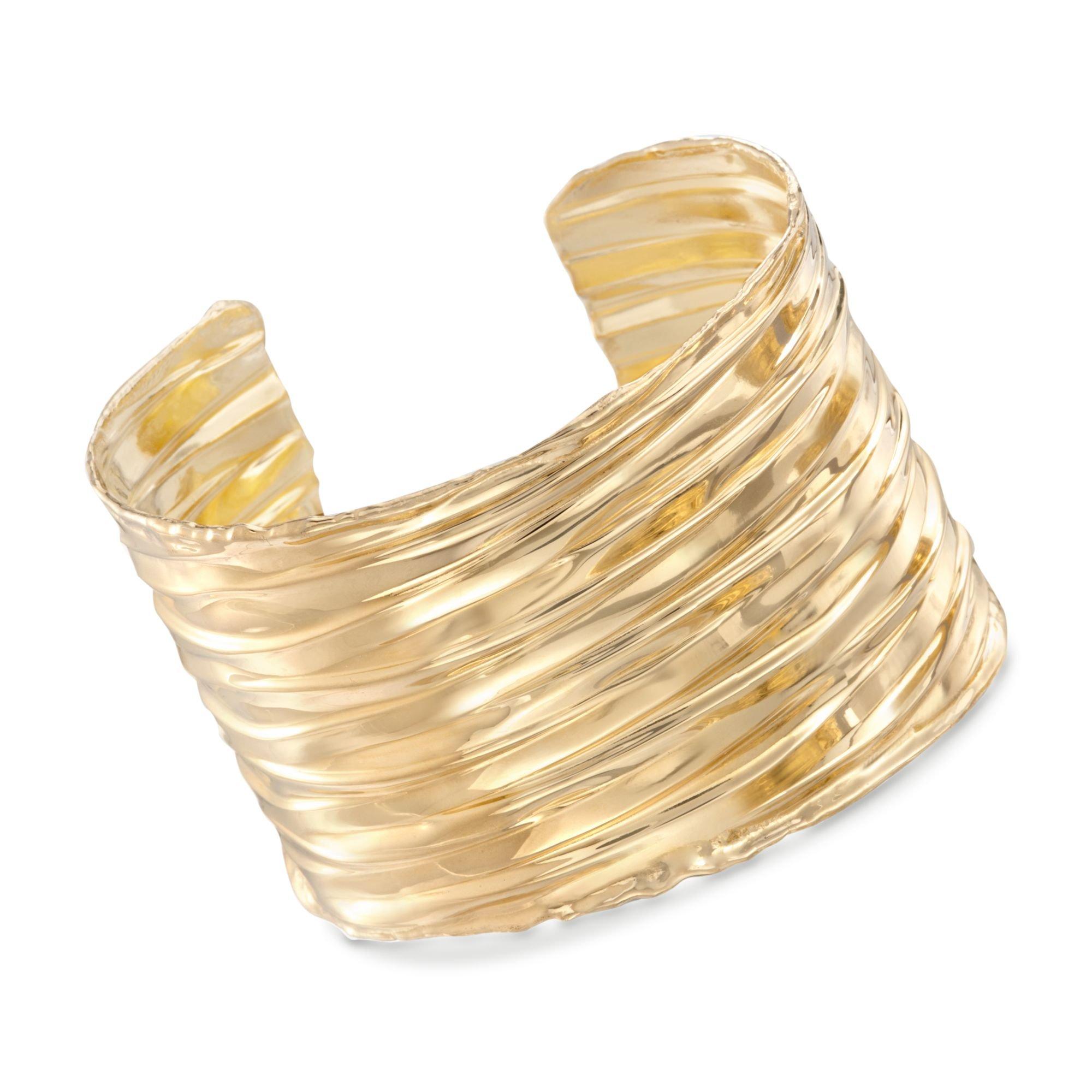 Ross-Simons Italian 24kt Yellow Gold Over Sterling Silver Rippled Cuff Bracelet