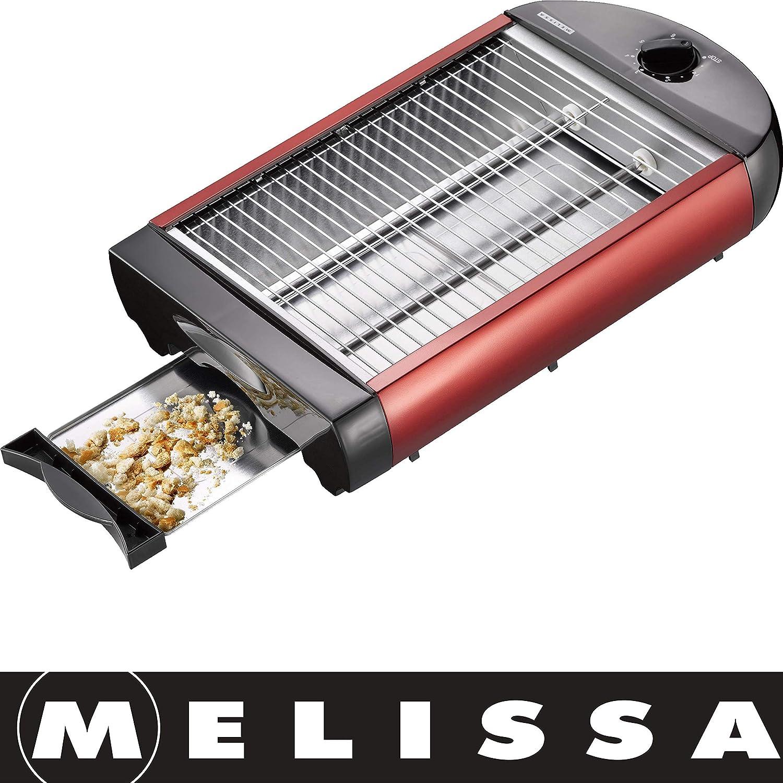 Rot metallic MELISSA Flachtoaster Toast Fläche 24 x 18,50 cm