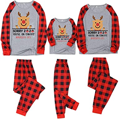 Pijama Navidad para Familia Padre Madre Hijo Hija Pareja Adultos Hombre Mujer Niño Niña - Sorry 2020 Papá Noel Tops + Pantalones de Cuadros Rojos y ...