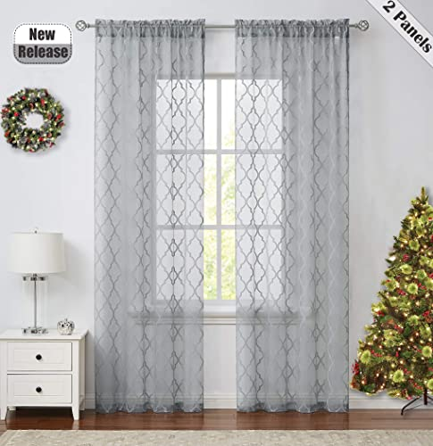 Ronaldecor Gray Geometric Sheer Curtain-Moroccan Diamond Weave Knit Grid Style