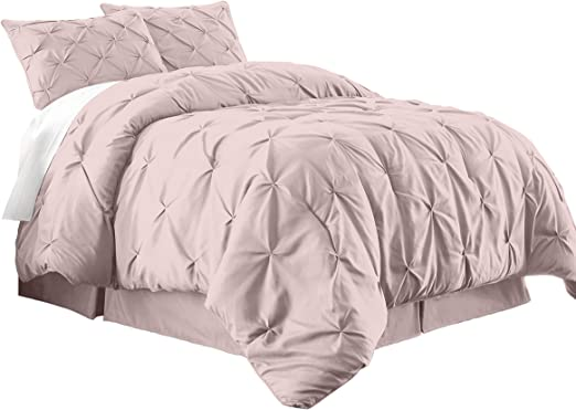 Chezmoi Collection Sydney 7-Piece Pintuck Bedding Comforter Set Full, Lavender