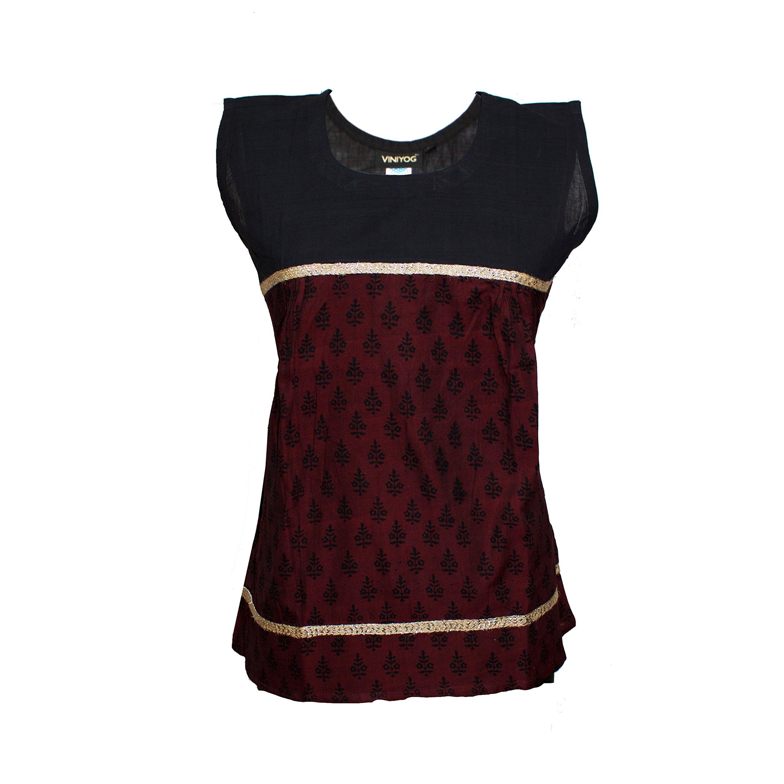 Viniyog Women's Handloom Maheshwari Cotton-Silk Hand Block Printed Kurti