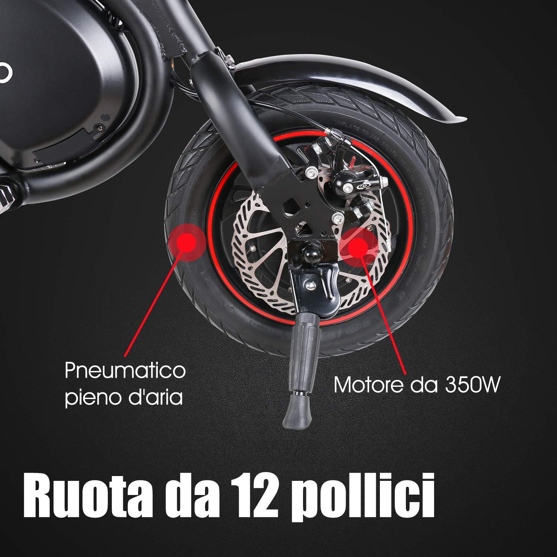 Maneggevole Potenza 350 W Batteria 36V 6,0 Ah velocit/à Massima 30 km//h Windgoo Bicicletta Elettrica Pieghevole Compatta Portatile Senza Pedale Altezza del Sedile Regolabile Nero