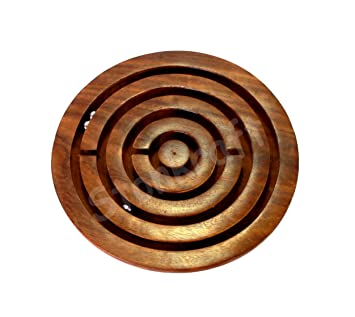 StonKraft 4 inch Handcrafted Wooden Labyrinth Board Game Ball in a Maze Puzzle Toys - Indoor Puzzle Game Gifts for Kids | Boys | Girls (Wooden)
