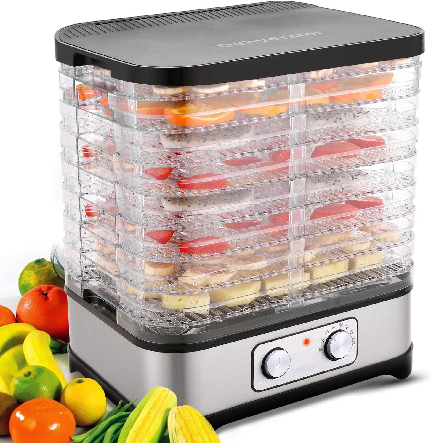 Food Dehydrator Machine, 8-Tray Fruit Dehydrators with Temperature Control(95ºF-158ºF) Knob Button for Jerky/Meat/Beef/Fruit/Vegetable, 400 Watt, BPA Free