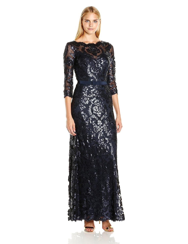 Amazon.com: Tadashi Shoji Women\'s Sequined Three-Quarter Sleeve Gown ...