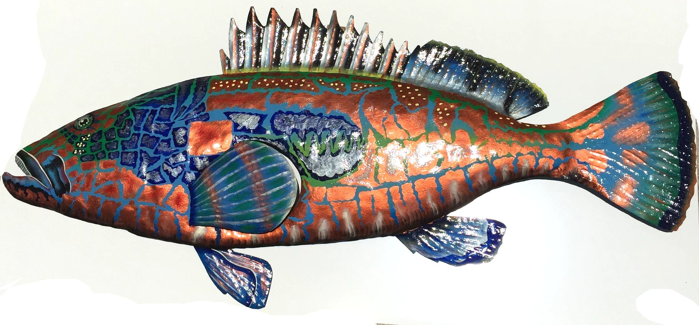 Bronze Grouper Wall Art Replica Mount - Haitian Metal Art (48 INCH) by Old Duga