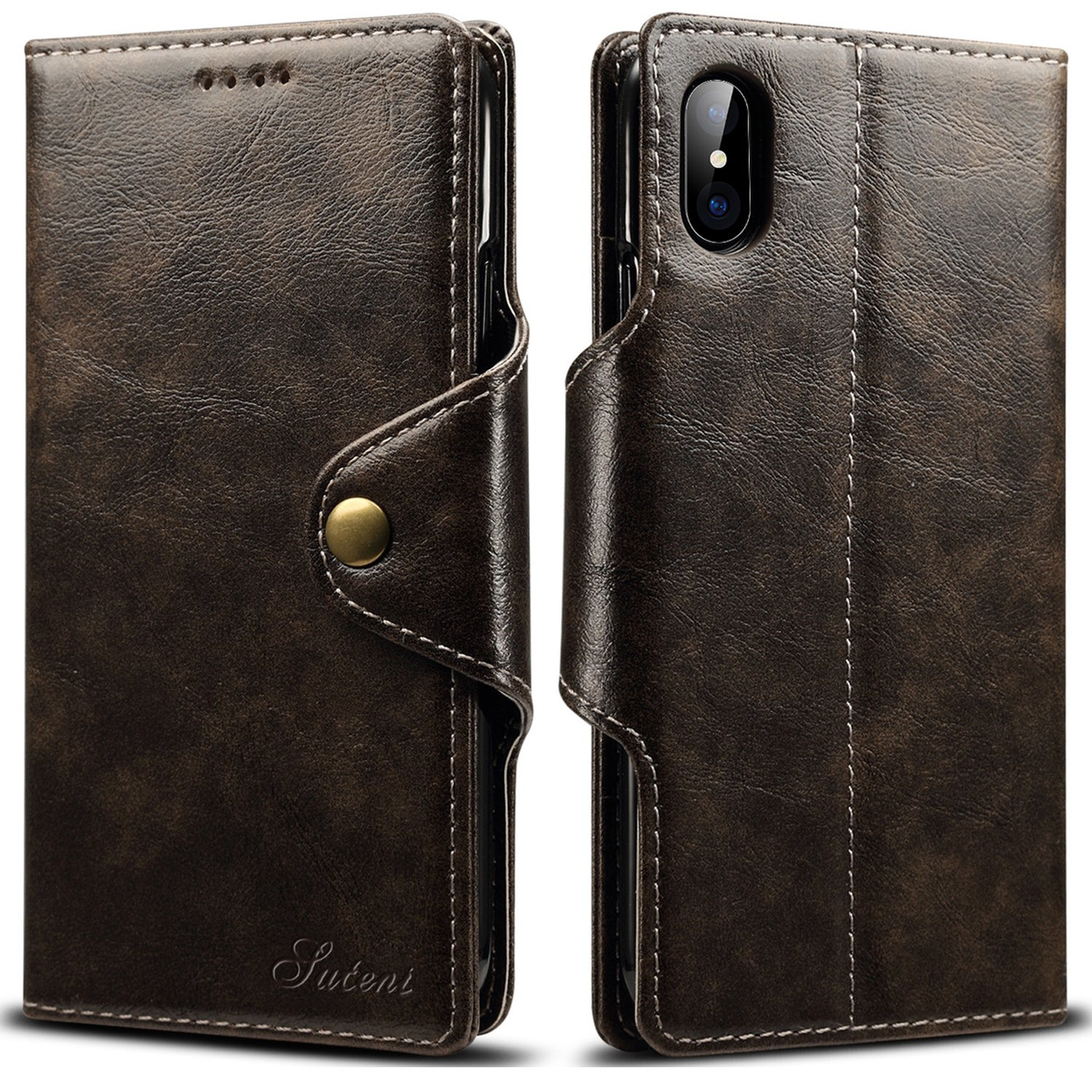 iPhone X,iPhone 7/8+ Leather Wallet Case With Card Holder Stand Folio Flip Cover (iPhone 7 Plus/8 Plus (5.5'), Brown) iPhone 7/8+ Leather Wallet Case With Card Holder Stand Folio Flip Cover (iPhone 7 Plus/8 Plus (5.5)