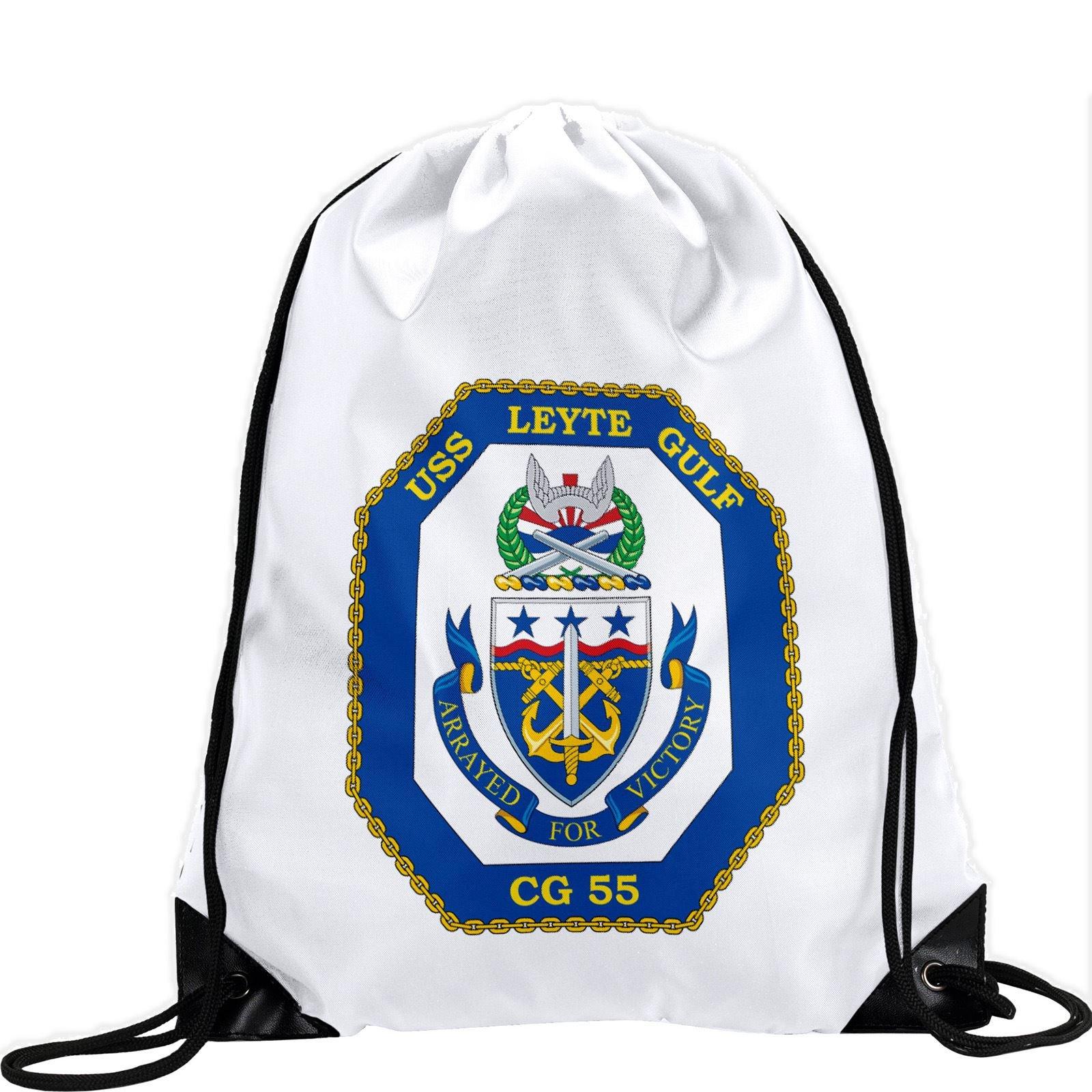 Large Drawstring Bag with US Navy USS Leyte Gulf (CG 55), cruiser emblem (crest) - Long lasting vibrant image