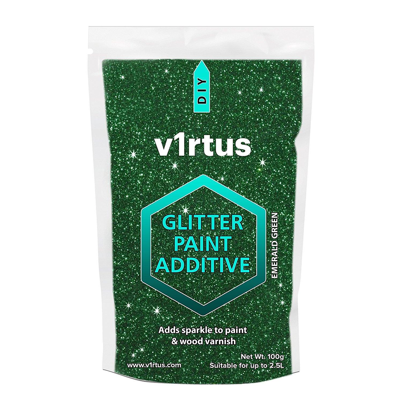 V1rtus-Glitzer-Zusatzstoff fü r Dispersionsfarbe –  Fü r die Verwendung auf Innen- und Auß en-Wand, Decke, Holz, Metall, Lack, superflacher Farbe, matten, weichen, Glanz- oder Seiden-Farben,100 g