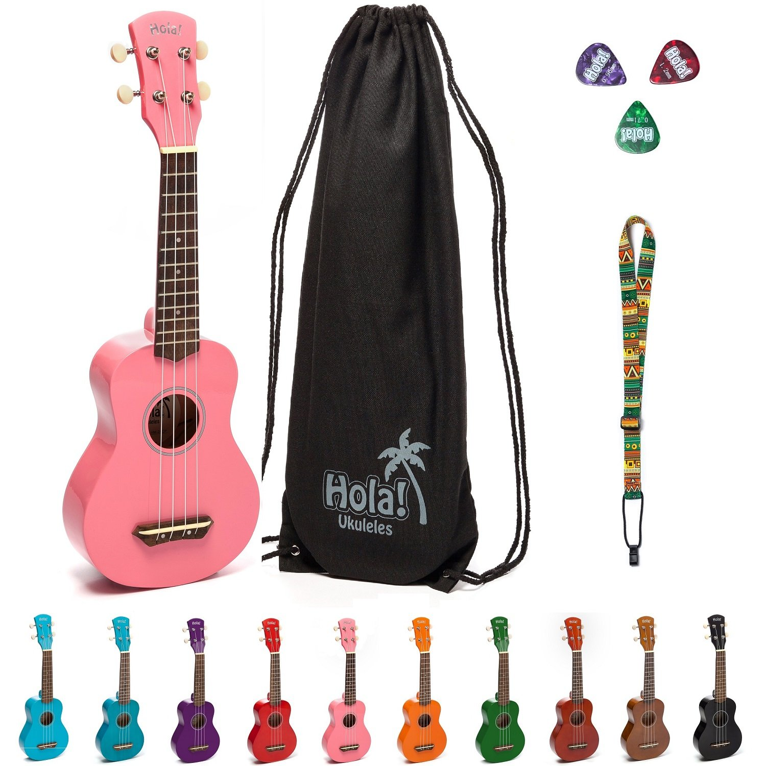 Hola! Music HM-21PK Soprano Ukulele Bundle with Canvas Tote Bag, Strap and Picks, Color Series, Pink HM-21CP