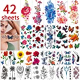 42 Sheets Flowers Temporary Tattoos Stickers, Roses, Butterflies and Multi-Colored Mixed Style Body Art Temporary Tattoos for