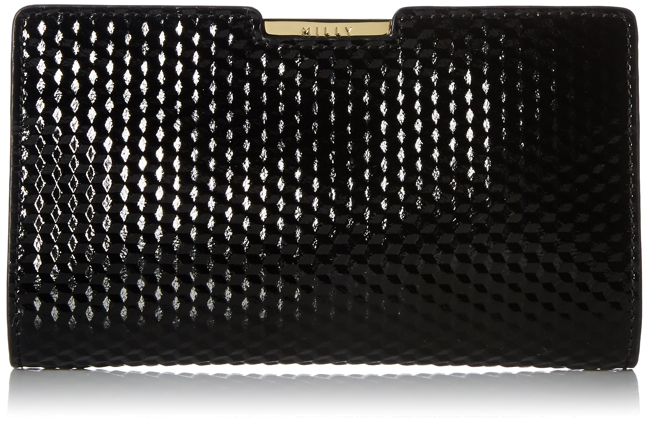 MILLY Geo Debossed Sm Frame Clutch, Black by MILLY